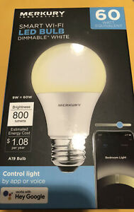 New Merkury Innovation Smart Wi-fi LED Bulb Dimmable White 60w Google Alexa  NIB