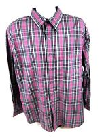 Van Heusen Classic Fit Mens XL Long Sleeve Button Front Multi Color Plaid Shirt