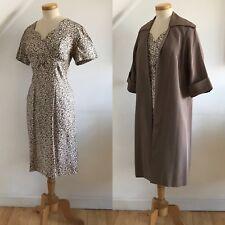 Vintage 1950s Duster Coat & Wiggle Dress Silk Grosgrain 50s Pinup Unworn