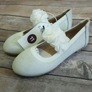 NEW! Cat & Jack Toddler Girls 5, 11, 12 White Oriana Ballet Flats Flower Strap