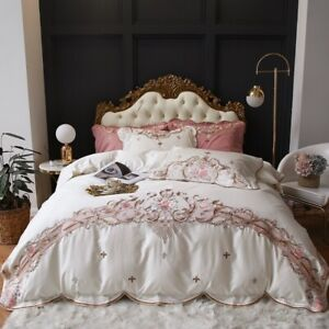 Luxury White  100S  Egyptian Cotton Flowers Embroidery  Bedding Set Duvet Cover