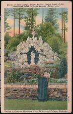 ST BERNARD COLLEGE AL Saint Joseph Grotto Brother Zoettl Monk Vtg Postcard Abbey