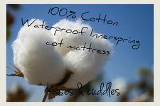NEW 100% COTTON WATERPROOF INNERSPRING BABY COT MATTRESS 750 x 1310mm BOORI SIZE