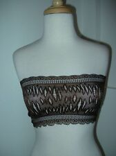 NWOTS Sexy Strapless Bra Lace Brown Shiny Bandeau Tube Top 28 30 32 34