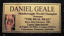"DANIEL GEALE Boxing Champions Gold  Subimated Plaque ""FREE POSTAGE"""