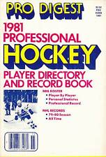 PRO DIGEST 1981 PROFESSIONAL HOCKEY PLAYER DIRECTORY AND RECORD BOOK