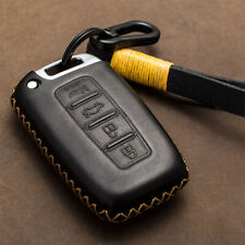 Genuine Leather Car Key Fob Case Cover Holder Keychain For Hyundai Sonata Rohens Fits More Than One Vehicle