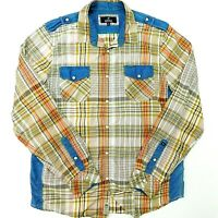 BUFFALO DAVID BITTON Shirt Western Pearl Snap Brown Plaid Men's L *