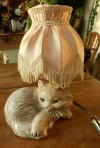 Cute Vintage Cat Lamp Ceramic Bijou