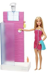 Barbie Real Water Working Shower & Doll New Boxed Uk Seller FXG51 🇬🇧