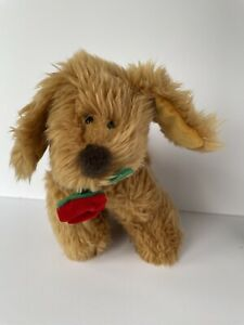 "Russ Berries Spunky Brown Tan Puppy Dog 8"" Red Rose Flower Stuffed Lovey Plush"