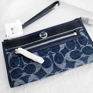 NWT COACH Denim Indigo Signature Optic Convertible Zippy Wallet / Wristlet NEW