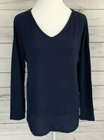Achioowa Sweater Womens Small S Blue Solid V-Neck Long Sleeve Pullover Knitted