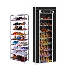 10 Tier 9 Shelf Shoe Rack Shelf Storage Home Organizer Cabinet with Cover Black