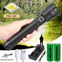 Super Bright XHP90.2 LED Tactical Flashlight USB Rechargeable 3-Modes Zoom Torch