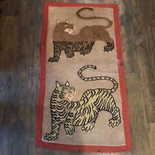 19th Century Rarest Of The Rare Antique Tibetan Tiger Wool Rug Carpet Textile