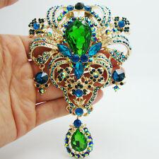 New Retro Classic Flower Drop Brooch Pin Pendant Emerald Rhinestone Crystal