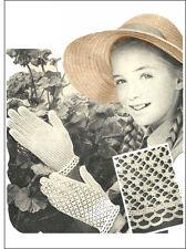 Années 1950 écolière's Crochet Summer Gants Motif Motif copie
