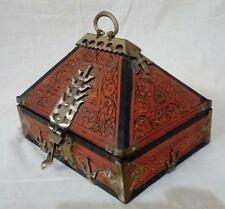 Antique Kerala Treasure Jewelry Box Wooden Box Hand Painted Brass Work Trinket