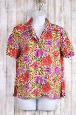 Notations Clothing Co Rayon Floral Hawaiian Shirt Blouse Top Size Small