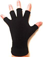 Unisex Black Fingerless Gloves - Winter Gloves for Kids and Adults