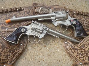 Vintage Wyatt Earp Long Barrel Double Cap Gun and Leather Holster Set
