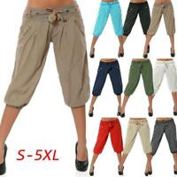 Fashion Women Solid Low Waist Boho Check Pants Baggy Wide Leg Casual Yoga Capris