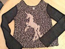 Bethany Mota Unicorn Sweater Gray White Cotton Long Sleeve Size XS