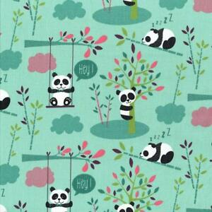 Textiles français CUDLY PANDAS (Mint) fabric - 100% Cotton 160 cm wide