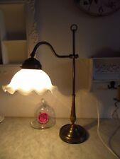 Alte Messing Tischlampe im Jugendstil Opalglas Schirm weiß - Antik Sieger