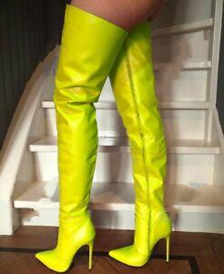 Sexy Full Zip Gelb gr.42 Overknees Schenkelhoch Stiefel Damenstiefel High Heels