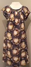 Boden Women's Gray Yellow Floral Dress Ruched Neckline Size 6R (UK 8)
