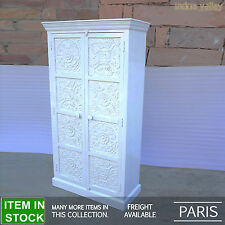 Carved Door solid wood white french cabinet almirah cupboard pantry