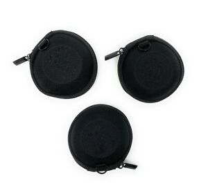 Black Zipper Earphone Pouch Earbud Pouch Coin Bag With Pockets Sturdy 3 Pcs.
