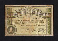 F.C. FONTS DE SACALM (GERONA) 1 PESETA 1937 , SERIE A , MBC+ .
