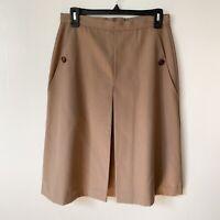 Russ Togs Woman's Vintage Skirt Midi Rrrruss Brown Pleated Pockets Sz 12