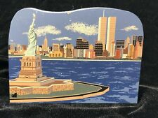 Cat's Meow Village Wooden New York City Skyline Twin Towers Statue Liberty