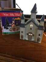 Winter Valley Villages, Porcelain Lighted HOUSE OR CHURCH  WITH Box & Cord 1995
