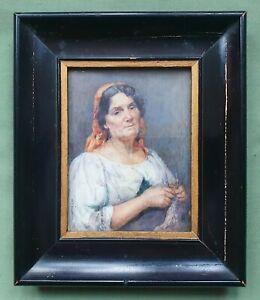 Beautiful miniature portrait of Italian Woman.  By M.E. Hewkley