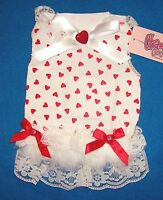 """Cha Cha Couture """"Full of Hearts"""" Red White Dog Dress Clothing  (Pick Size)"""
