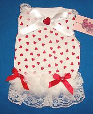 "Cha Cha Couture ""Full of Hearts"" Red White Dog Dress Clothing  (Pick Size)"