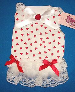"""Cha Cha Couture """"Full of Hearts"""" Red White Dog Dress Clothing  (XS or Small)"""