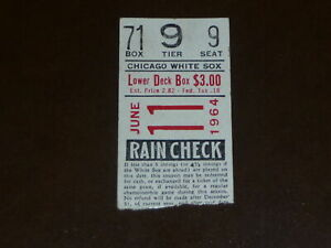 1964 WHITE SOX BASEBALL TICKET STUB AL LOPEZ PICTURE ON BACK VS ORIOLES