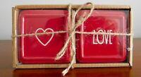 NEW Rae Dunn HEART LOVE Valentines Red Ceramic Jewelry Box 2pc Set VHTF