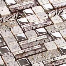 Glasmosaik Fliesen Naturstein Mosaik Glass-Stone Zoe Silber Metall Edelstahl