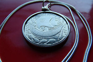 """Beautiful Portuguese Galleon Ship Coin on a 30"""" 925 Sterling Silver Snake Chain"""