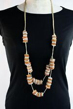 Necklace Handmade Layered Natural Coco Wood Beads In Orange Grey Off White Brown