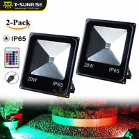 2PCS 20W RGB Flood Light Outdoor Garden 16 Color Changing LED Security Lamp