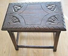 Edwardian (1901-1910) Antique Furniture Antique Long Oak Stool Low Bench William Morris Style Art And Crafts Covering