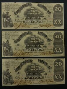 September 2, 1861 $20 T-18 Confederate States 3 consecutive sequential notes
